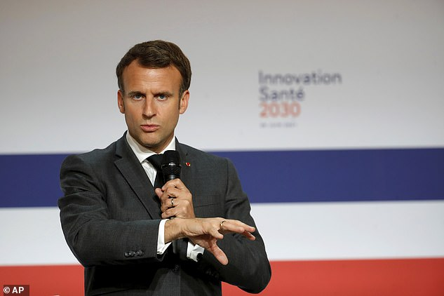 The move to ban Brits was initially backed by Macron (pictured speaking in Paris on Tuesday) because Delta represents some 20 per cent of new cases in France, and the proportion is likely to be above 50 per cent by August