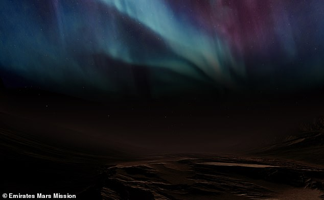 The probe is the first to photograph the 'discrete aurora' caused by solar radiation hitting the nightside of the atmosphere and only visible in ultraviolet light. This is what UAE experts predict it would look like from the surface if it were visible to the naked eye