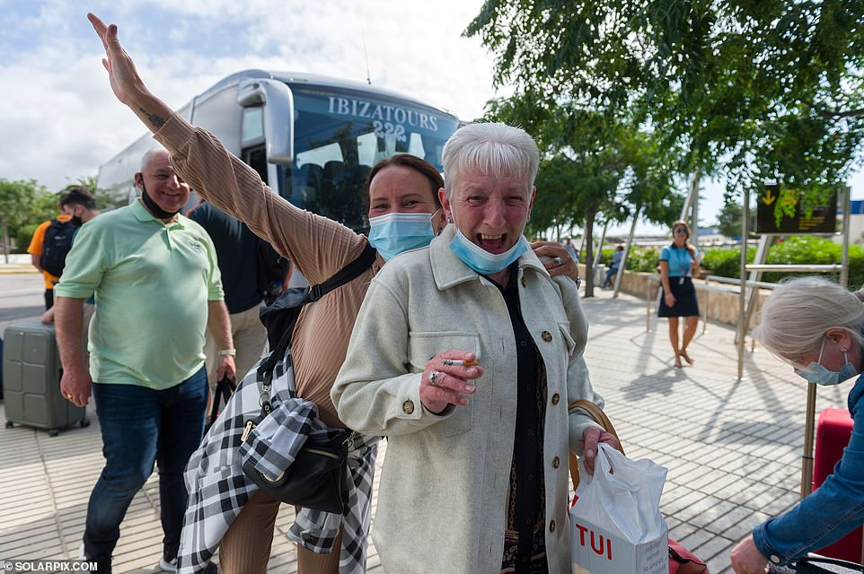 Two women cheered as they landed in Ibiza this morning after travelling on the first TUI flight from Edinburgh to the Balearic Island