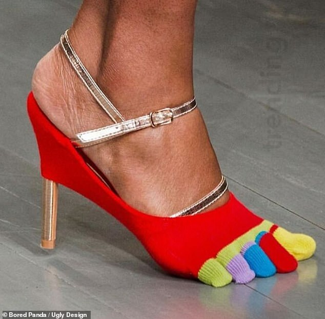 A designer from Los Angeles raised eyebrows with these stiletto heels designed with toes socks