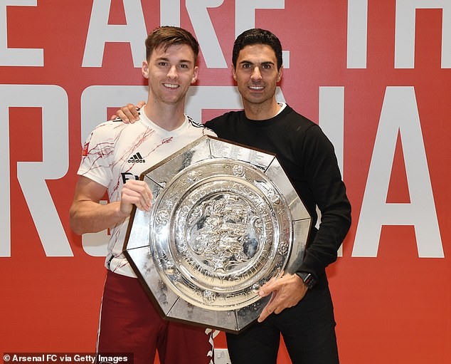 Tavares is viewed as cover for Kieran Tierney (L) and will become Mikel Arteta's first summer signing