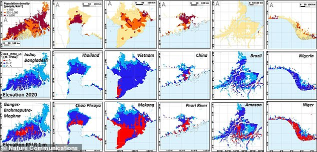 Pictured are region along tropical Asia that are at most risk of rising sea levels