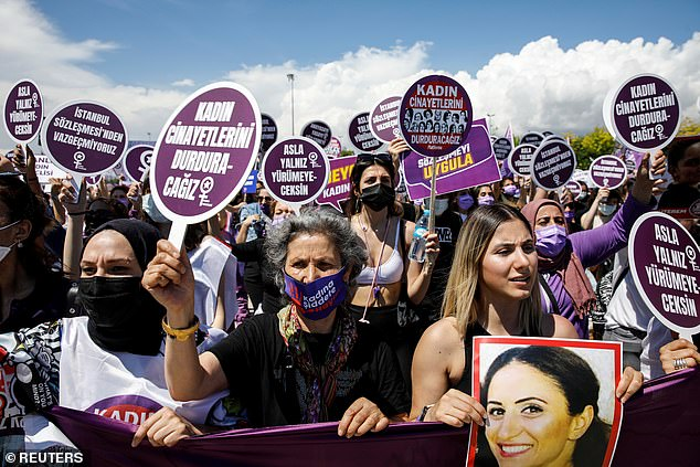 Thousands were set to protest across Turkey, where a court appeal to halt the withdrawal was rejected this week. Pictured: Activists in Istanbul protest against Turkey's withdrawal from the Convention, June 19