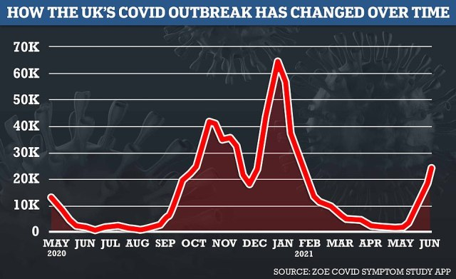 King's College London 's Covid symptom study estimated there were 25,210 new cases every day in the UK last week, up by almost a third (31 per cent) from the previous seven-day spell. Their figures rely on daily reports from a million Britons