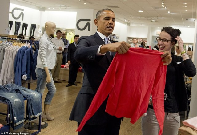 Visit from the President: Barack Obama in a Gap store in New York City in March 2014