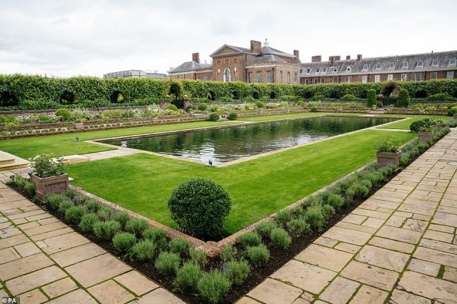 """The redesigned Sunken Garden at Kensington Palace, London, home to the new Diana, Princess of Wales statue, which has been filled with more than 4,000 flowers and offers a """"calmer and more reflective setting"""""""