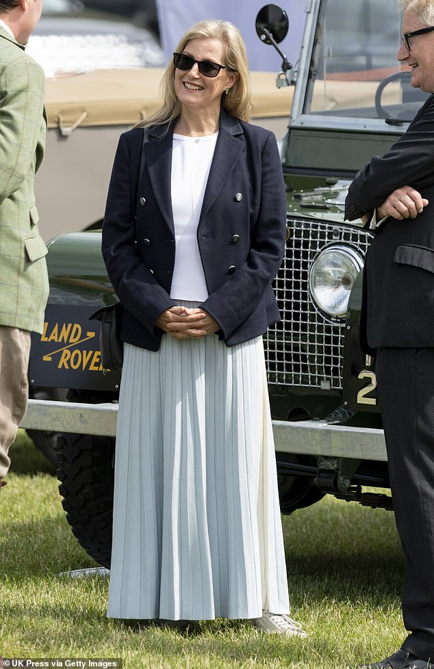 A day at the horse show! The Countess of Wessex, 56, donned casual footwear as she attended The Royal Windsor Horse Show today, held on the grounds of Windsor Castle today