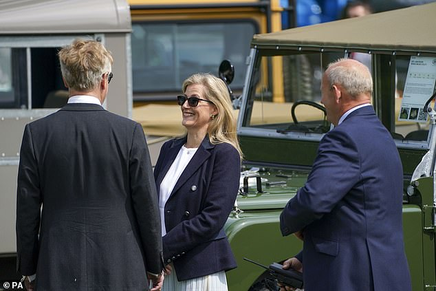 This morning, the Countess of Wessex put her sunglasses on to take a look at the shopping area, where businesses advertise their products at the horse show
