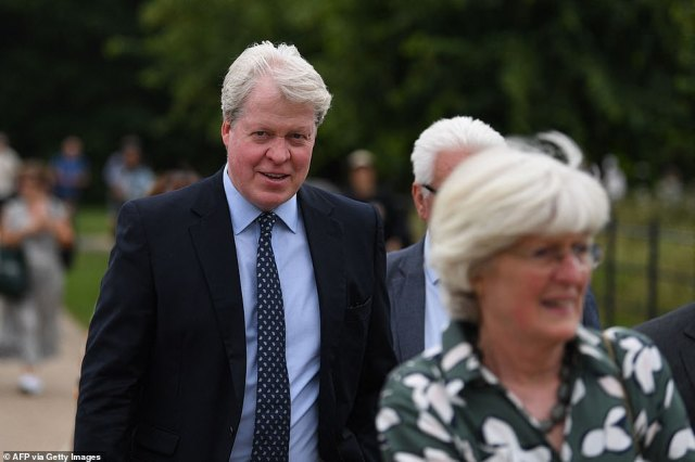Remembering their sister: Earl Spencer follows his sister Lady Jane (foreground) to the Sunken Garden at the palace