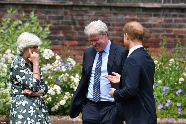 The Duke of Sussex (centre) with his aunt Lady Jane Fellowes and uncle Earl Spencer, making them laugh