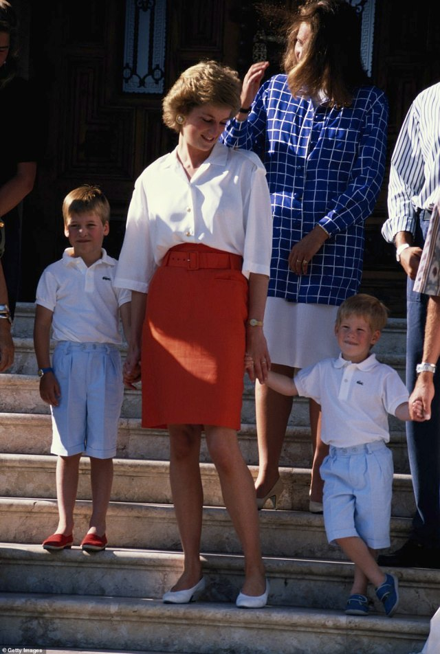 Princess Diana with her sons, Prince William (left) and Prince Harry at a photocall on the steps of the Marivent Palace during their summer holiday in Majorca, July 1988