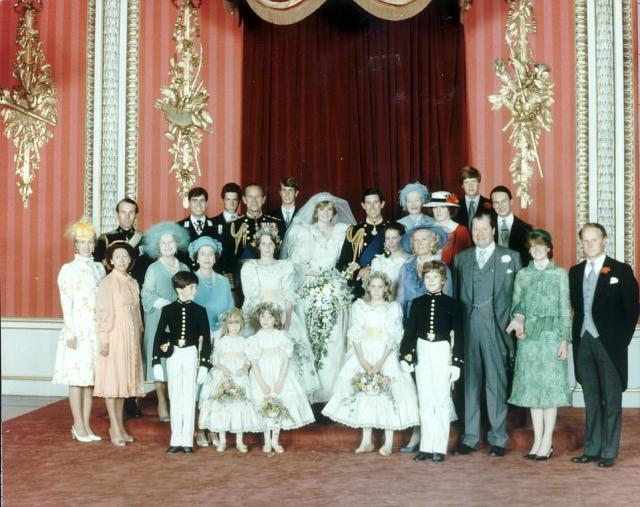 All three of the siblings attended Diana's wedding to Charles. Pictured:.Left to right, back row, Captain Mark Phillips, Prince Andrew, Viscount Linley, Duke of Edinburgh, Prince Edward, Diana, Princess of Wales, Prince of Wales. Ruth, Lady Fermoy (bride's grandmother) Lady Jane Fellowes (bride's sister) Viscount Althorp (bride's brother, now 9th Earl Spencer), Robert Fellowes. Centre row, left to right, Princess Anne, Princess Margaret, the Queen Mother, the Queen, India Hicks, Lady Sarah Armstrong Jones (now Lady Sarah Chatto), Hon. Mrs Frances Shand Kydd (brides mother) , the 8th Earl Spencer (brides father, now dead), Lady Sarah McCorquodale (bride's sister) Neil McCorquodale. Front row, bridal attendants, left to right, Edward van Cutsem, Clementine Hambro, Catherine Cameron, Sarah Jane Gaselee and Lord Nicholas Windsor, son of the Duke and Duchess of Kent.