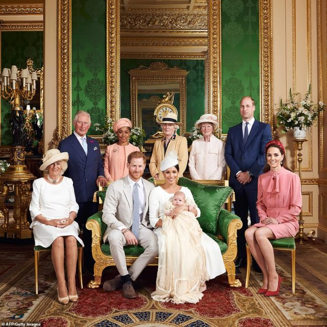 In 2019, the Sussexes shared a photo of Archie's christening, which showed the Duke and Duchess with their son and Lady Jane and Sarah alongside the Duchess of Cornwall, The Prince of Wales, Doria Ragland, The Duke of Cambridge and The Duchess of Cambridge in the Green Drawing Room at Windsor Castle.