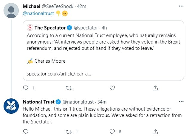The National Trust has vehemently denied the magazine's claims, describing them as 'plain ludicrous' and 'without evidence or foundation'. It has also asked for a retraction of the article