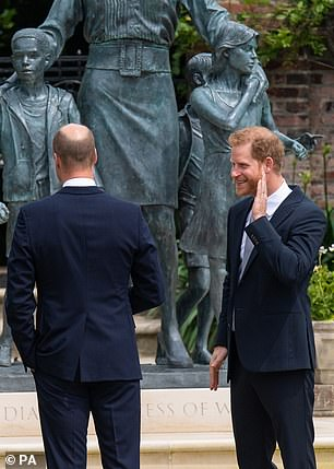 Harry looked to be in good spirits as he called over to family members from his mother's side at the statue unveiling