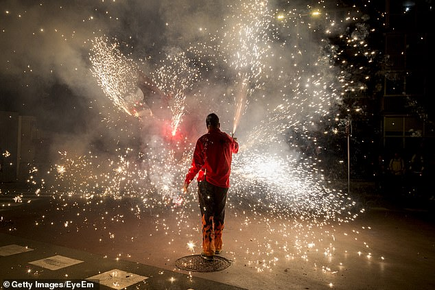 Fireworks are the main culprit of many July 4 injuries, but drownings and traffic incidents also become more common this time of year. One teen had his eye sight permanently damaged while playing with Roman candles with his friends (file image)