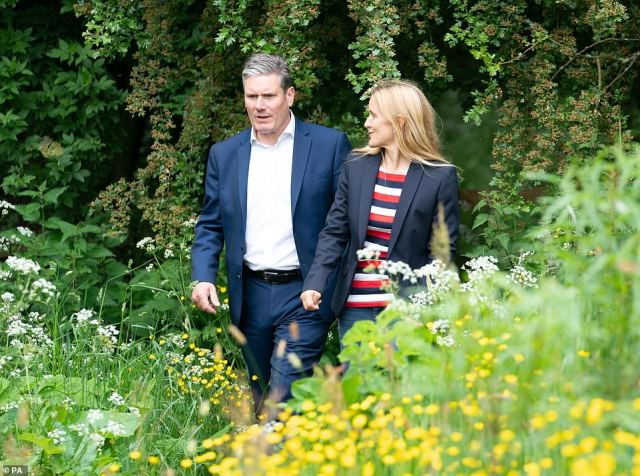 Labour Leader Keir Starmer and Labour candidate Kim Leadbeater during a visit to the Jo Cox Community Wood in Liversedge