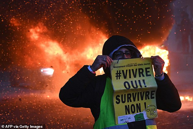 Last month, Mr Dimbleby warned that Britons may have to pay a meat tax to help save the planet in future, even though it could cause riots. The proposalwill raise the prospect of unrest over the price of food akin to the Gilet Jaune protests (pictured) that rocked France last year