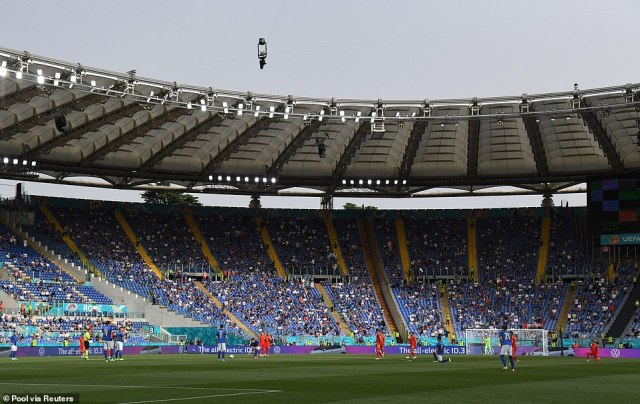 Britons living in countries including Malta, France and Germany managed to get tickets to fill up the Stadio Olimpico (pictured) on Saturday with fellow supporters in the UK forced to miss the game because they would need to self-isolate for five days