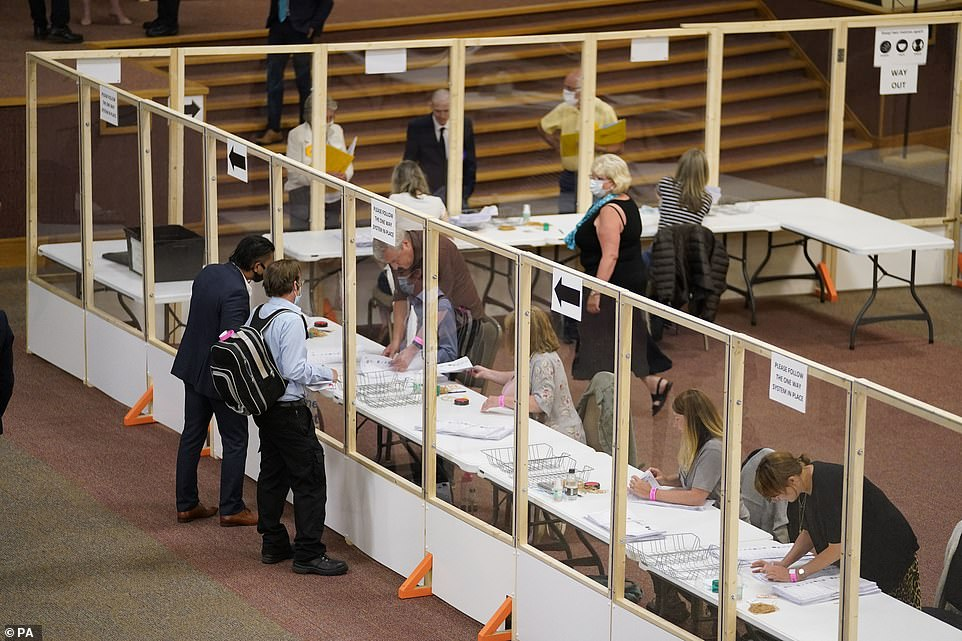 Votes are counted at Cathedral House in Huddersfield, for the Batley and Spen by-election ahead of Miss Leadbeater's victory this morning
