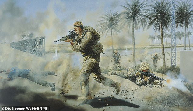 A painting by military artist David Rowlands and owned by the regiment immortalised his courageous action. A print of that painting is being sold with the CGC and WO Jardine¿s campaign medals