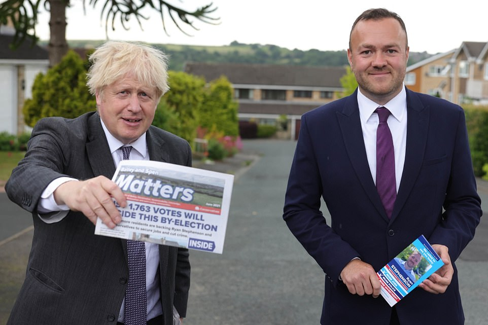 Prime Minister Boris Johnson pictured with Tory candidate for Batley and Spen Ryan Stephenson