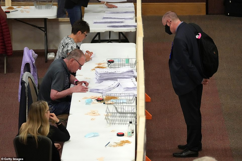 Votes are counted for the Batley and Spen by-election at Cathedral House