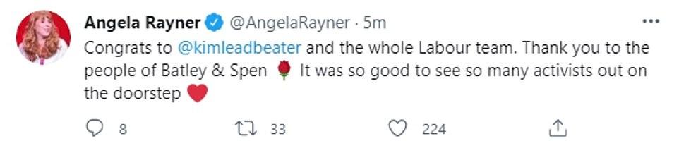 Deputy leader Angela Rayner tweeted: 'It was good to see so many activists out on the doorstep'