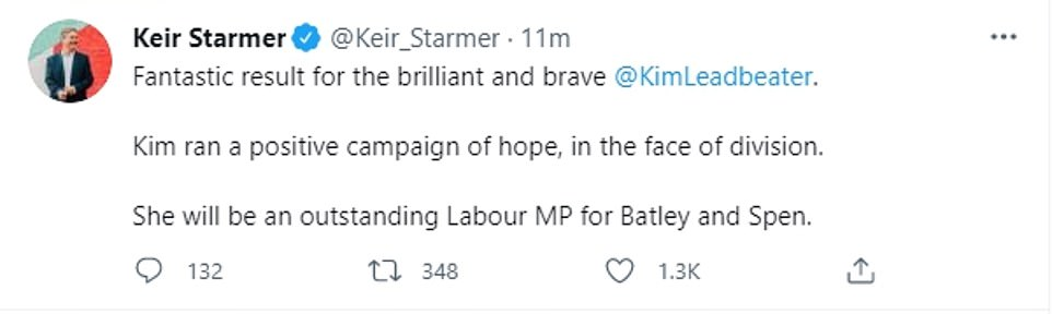 Labour leader Sir Keir said the crunch by-election was a 'fantastic result for the brilliant and brave' Miss Leadbeater, adding: 'Kim ran a positive campaign of hope, in the face of division. She will be an outstanding Labour MP for Batley and Spen.'