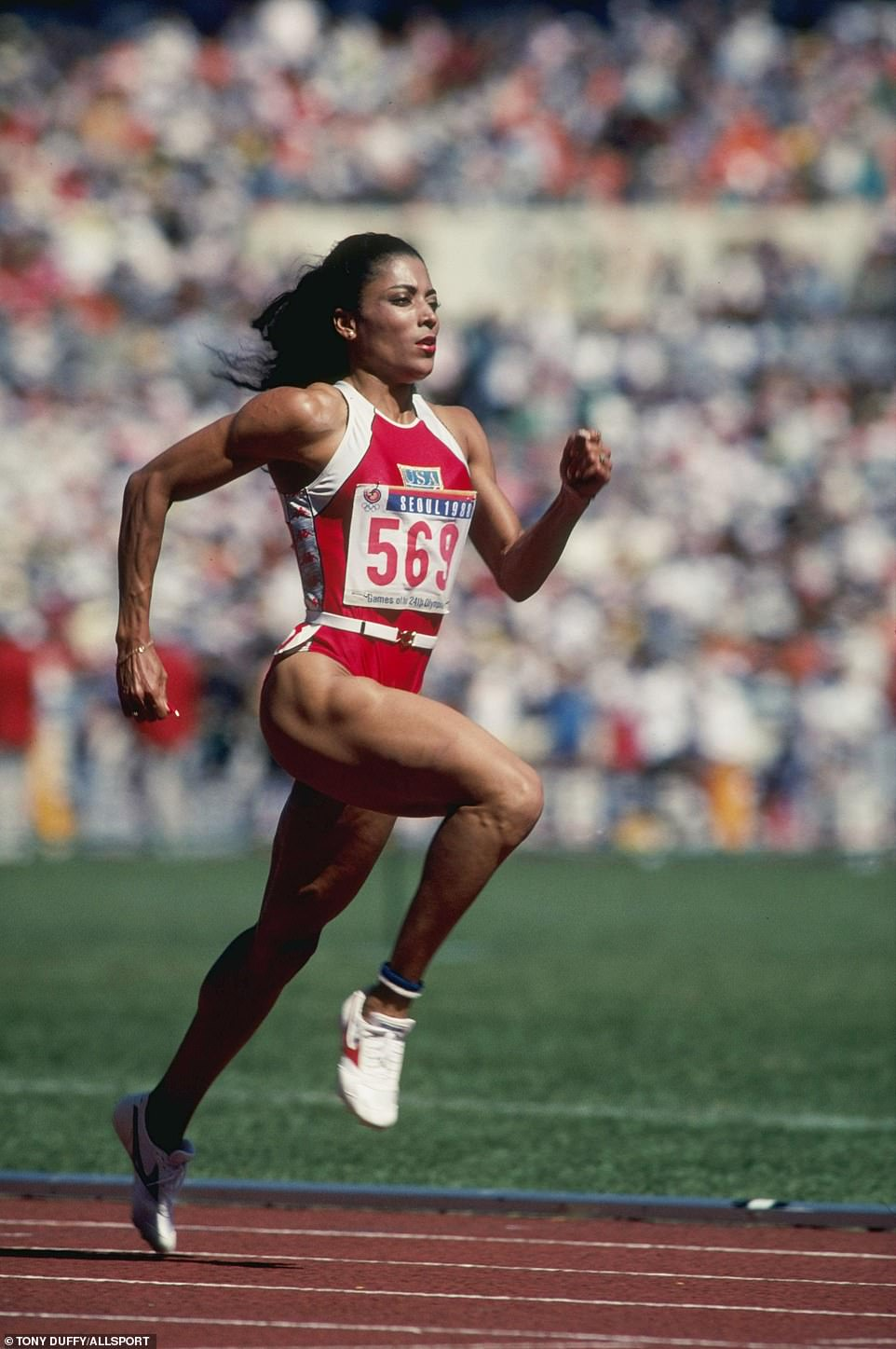 Flo-Jo, pictured in action at the 1988 Seoul Games, died in 1998 and remains the fastest woman of all time