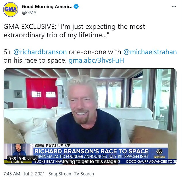Billionaire Sir Richard Branson said in an interview on Friday that his upcoming trip to space on July 11 will be 'the most extraordinary trip of my lifetime'