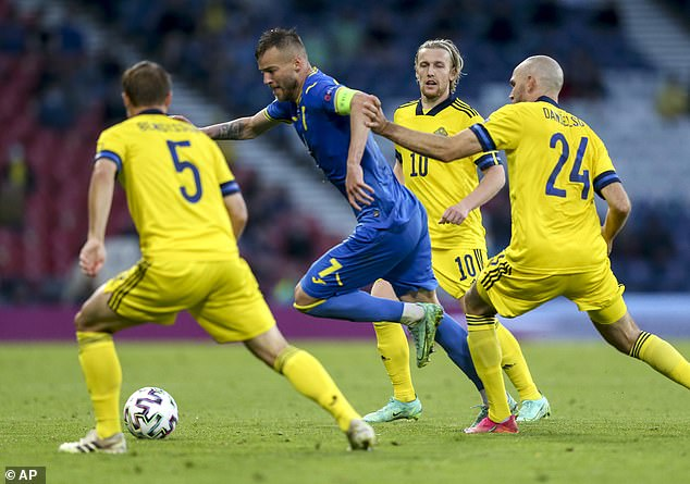 Opposition teams have no doubt about who the danger man is, Andriy Yarmolenko (centre)