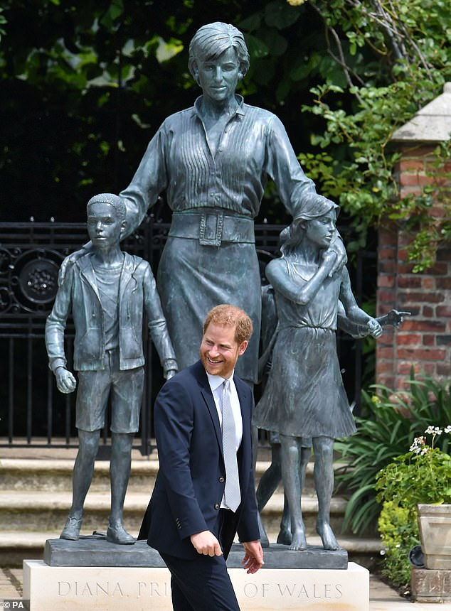 A smiling Duke of Sussex after the unveiling a statue commissioned of his mother Diana
