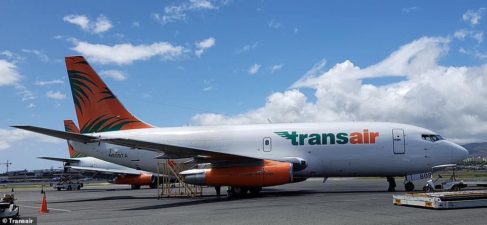 This is one of Transair's five Boeing 737 planes that are used to transport cargo in Hawaii