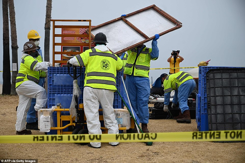 Outreach workers had been able to persuade dozens of homeless people camped on the boardwalk to move into shelters on Friday before sanitation workers swept in to clear out the debris