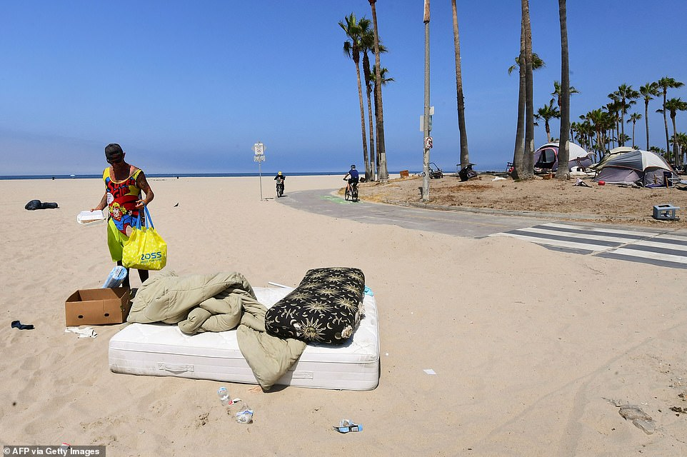 As well as tents being pitched up, homeless people were also seen sleeping on mattresses sprawled across the sand ahead of the new measures, which has been billed as a humane approach to get people off the streets