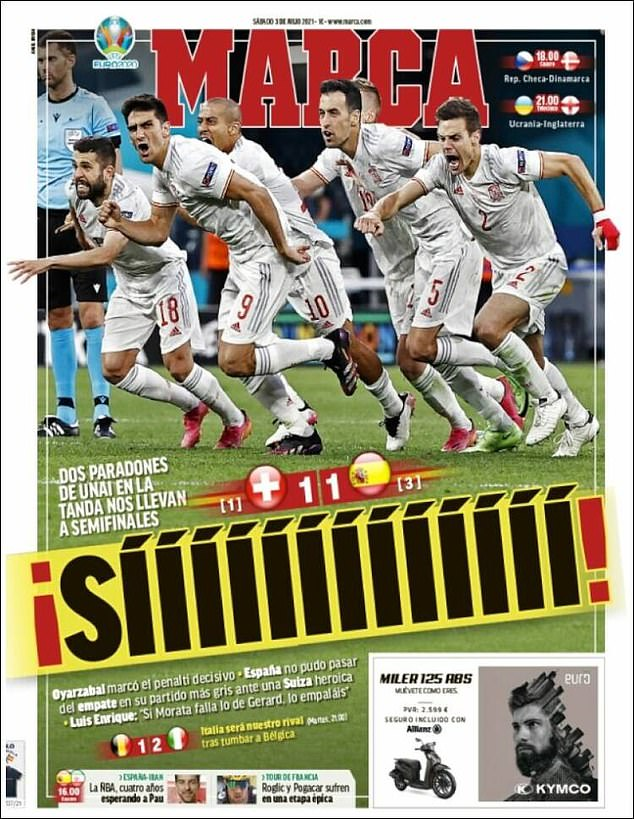 MARCA went with the rather simple headline of 'YESSSSSSSSSSS' to convey their shootout joy