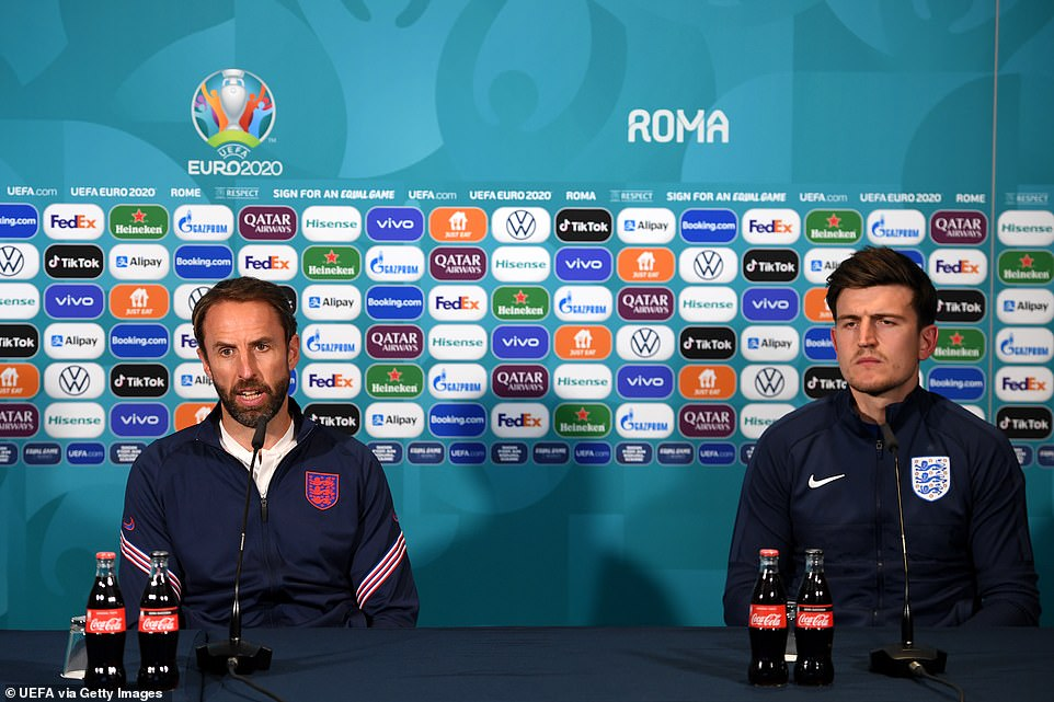 Harry Maguire and Gareth Southgate talk to the media during the England Press Conference ahead of the Euro 2020 Quarter Final