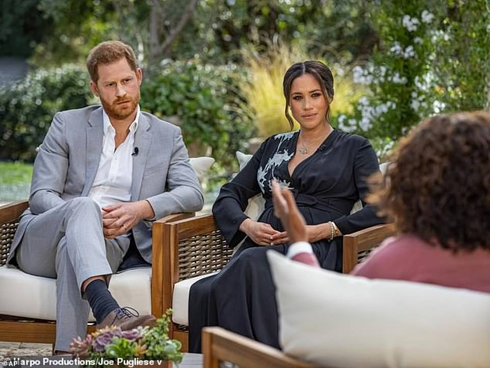 The brothers are said to have barely spoken and have an 'incredibly strained' relationship after two years of rows over Harry's wife and her alleged treatment of staff, the couple's decision to emigrate to America and the tonnes of 'truth bombs' the Sussexes have dropped in TV interviews (their interview with Oprah, pictured) watched by tens of millions of people around the world