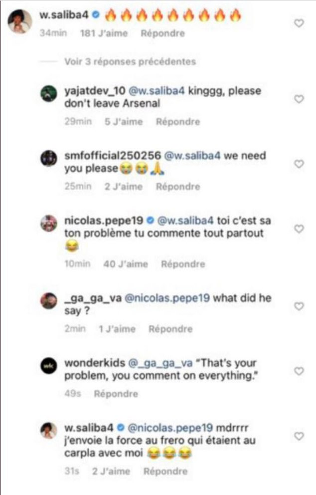 Saliba told Guendouzi on Instagram in December that he has been exiled by the club