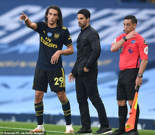Arteta (middle) told midfielder Guendouzi (left) to train on his own for disciplinary reasons