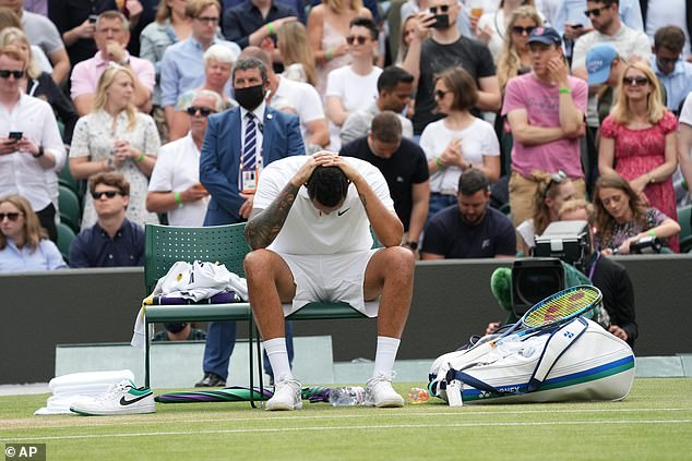 Kyrgios can't hide his despair after retiring from his match againstFelix Auger-Aliassime