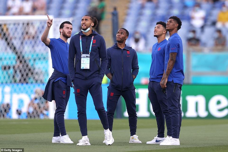 Ben Chilwell, Dominic Calvert-Lewin, Raheem Sterling, Jadon Sancho and Marcus Rashford wait in eager anticipation ahead of tonight's Euro 2020 match with Ukraine