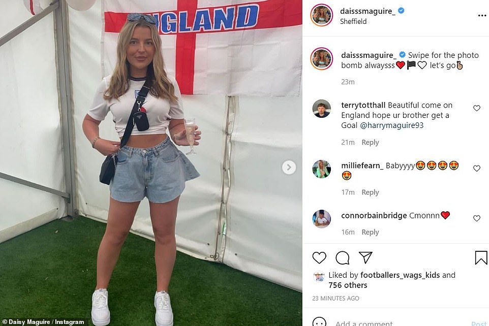Manchester United centre back Harry Maguire's sister Daisy posted her support on Instagram ahead of England's game