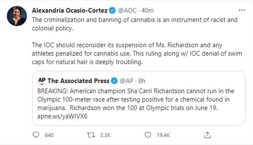 The progressive congresswoman also slammed the International Swimming Federation for rejecting the use of Soul Cap, a brand of swimming caps designed for athletes with natural black hair, at the Olympics
