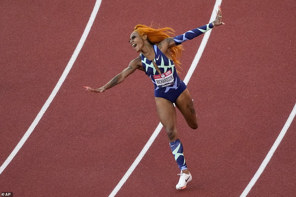 It is still unclear if Richardson will represent Team USA in Tokyo later this month, because despite being banned from the 100 meters her suspension finishes before the 4x100m relay. She is seen celebrating after winning a qualifying race last month