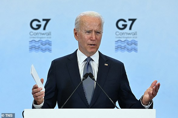 'I'm hopeful that we can find an accommodation where we can save the lives of people in — for example, in — in Libya,' the president said, mentioning the north African country for the third time instead of Syria, in the Middle East. Biden is pictured in Cornwall, United Kingdom on June 13