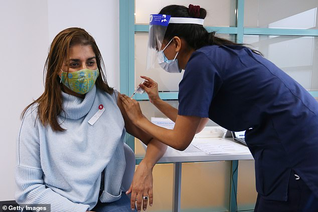 The strain was marked as a 'variant of interest' by the World Health Organisation on June 14 due to its high transmissibility (pictured, a woman getting the Pfizer vaccine in Sydney)