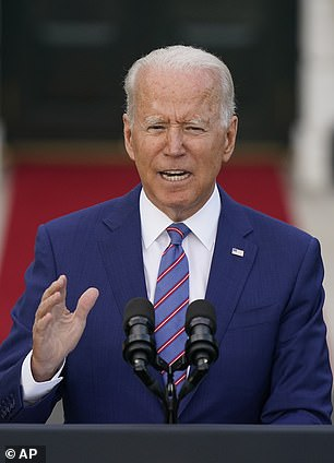 Joe Biden makes Independence Day remarks to a crowd fathered on the South Lawn on July 4, 2021