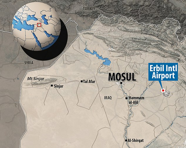The attack occurred at the Erbil International Airport in Iraq, shown on this map